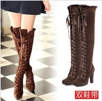 Autumn and winter boots vivi over-the-knee boots tall boots lacing knee-length boots high-heeled thick heel martin boots