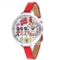 MN974A MINI watch 3D LONDON watch DIY Handmade Genuine Leather Quartz Ladies watch 1pc+free shipping