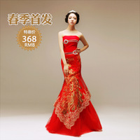 wedding formal dress tube top classical festive fish tail formal dress toast the bride formal dress
