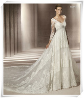 2013 wedding formal dress european vintage lace long-sleeve train wedding dress bride yarn