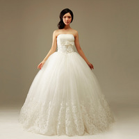 2013 new arrival wedding dress formal dress tube top princess aesthetic wedding qi white yarn