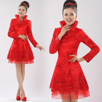 Short-sleeve bride cheongsam married long-sleeve spring design long-sleeve short red cheongsam new arrival 2013