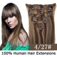 "16""--22"" Full Head Remy Clip in Human hair extension #4/27 Medium Dark Brown/Strawberry Blonde 7PCS 70g/set 80g/set"