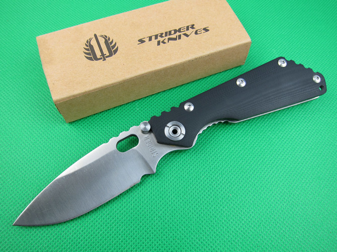 "FREE shipping New 8"" CNC Black G-10 Handle Strider SMF SNG Folding Pocket Knife ST24(China (Mainland))"