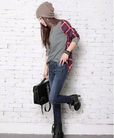 Autumn outfit new round neck T-shirt splicing grid loose big grid code render T-shirt