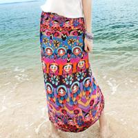 Sales Novelty Vintage 2014 Summer Fashion Beach Bohemia Long Skirt Slim Hip Printed Silk Skirt