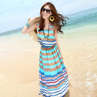 Free Shipping Discount 2013 Summer Fashion Dress For Women High Quality Navy Stripe Tank Beach Dress Long Chiffon Dress