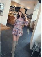 Free/drop shipping girls' new fashion print chiffon long sleeve bohemia mini dress wome's vintage shirt