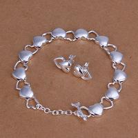 2015new fashion set of 925 sterling silver fashion jewlery sweet heart open heart links bracelet earring