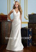 Distinctive A-line Chapel Train Pleats,Beaded Lace Up Taffeta V-neck Bridal Party Dress