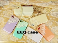 Free shipping 50pcs/ lot Hand Art Sex Lace Bling Pearl Sweet Case For  iphone5 5G