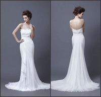 Special price!strapless applique ruffle floor length mermiad sexy white bridal wedding dress chiffon