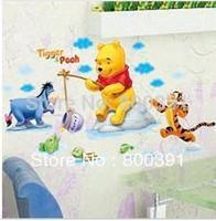 50x70cm HL5903 Bear Fishing Wall Sticker, Tigger Bear Children Room Decal,  Cartoon Sticker / Room Paper ,5pcs/lot,Free shipping