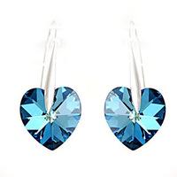 Blue crystal love 925 pure silver earrings drop earring day gift girlfriend gifts
