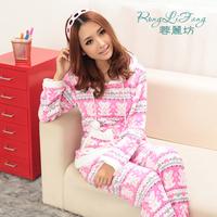 free shipping Autumn and winter plus size cartoon bear coral fleece with a hood long-sleeve sleepwear lounge set