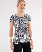 ship by air post Lululemon Lively Crewneck Tee black/white size:2,4,6,8,10