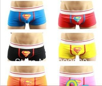 Free shipping Male super man panties male cartoon panties male boxer panties four angle 100% cotton panties