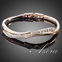 AZORA 18K Rose Gold Plated Stellux Austrian Crystal Paved Bangle Bracelet TB0022