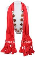 1p Retail/Wholesale fashion handmade woman Cotton pashmina wrap scarf Acrylic resin beads pendant necklace shawl scarves jewelry