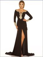 2013 Black Evening dress Shine Classic Mac Duggal Black Jersey Off The Shoulder Pageant Dress