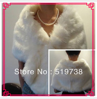 Free Shipping Ivory Faux Fur Long Wedding Wrap Bridal Cape