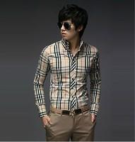 2013 New Fashion Men's Stripe Stylish Casual Slim Fit Long Sleeve Dress Shirts 2Color Black Blue M/L/XL/XXL free shipping 5014