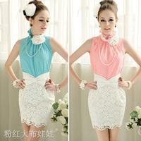 Free shipping 2014 Fashion Brand Flower Elegant Lotus Leaf Stand Collar Sleeveless Women's shirts Tops Ladies' Blouses