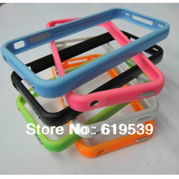 Free shipping 2pcs/1lot.whole sale.retail same color pc tpu Bumper cover for iphone 4 4g with accept mix-order in stock [110]