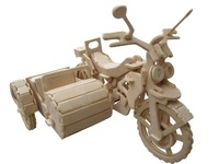 Diy wooden decoration 3d puzzle wooden puzzle car model tricycle