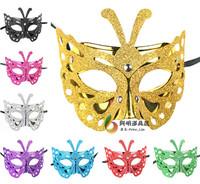 free shipping 6pcs/lot 30g Women mask halloween Christmas mask princess ball gold powder butterfly mask dance party mask