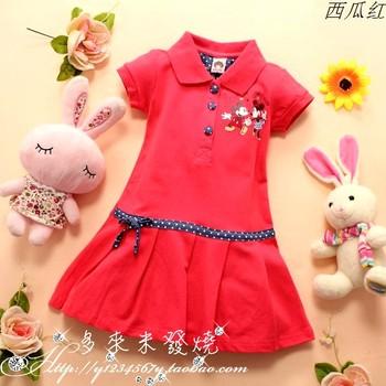 DLM. G3317 MICKEY 100% female child cotton short-sleeve dress tennis ball dress
