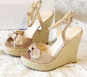 Pequenos jardas / Plus Size Boho Bow detalhe das mulheres de linho artesanato Platform Wedges sandálias sapatos de salto alto + grátis frete(China (Mainland))