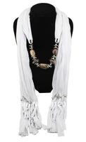 Hot 1pc Retail/Wholesale fashion woman tassels Cotton pashmina wrap scarf Acrylic beaded pendant necklace shawl scarves jewelry