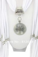 Hot 1pc Retail/Wholesale fashion woman tassel Cotton pashmina wrap scarf Zinc Alloy Bead pendant necklace shawl scarves jewelry