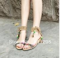 2013 New Arrival beading sandals sweet bohemia sandal fashion handmade serial chain flat 3Colours Free shipping #58325