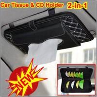 Car Auto Sunshade Sun Visor Tissue Box Holder Paper Napkin Clip CD DVD Case Bag Pack Organizer Pocket Storage Hanger