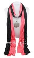 1pc Retail/Wholesale fashion woman tassels Cotton pashmina wrap scarf Alloy Flower Bead pendant necklace shawl scarves jewelry