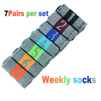 7pairs one set Cowhide box weekly sox creative weekly socks great gift Special offer Wholesale Free shipping