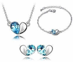 Free shipping wholesale fashion heart shaped crystal jewelry set silver,cheap rhinestone heart shaped silver jewellery set(China (Mainland))