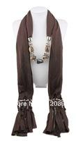 1pc Retail/Wholesale fashion woman tassels Cotton pashmina wrap scarf Acrylic Resin Bead pendant necklace shawl scarves jewelry