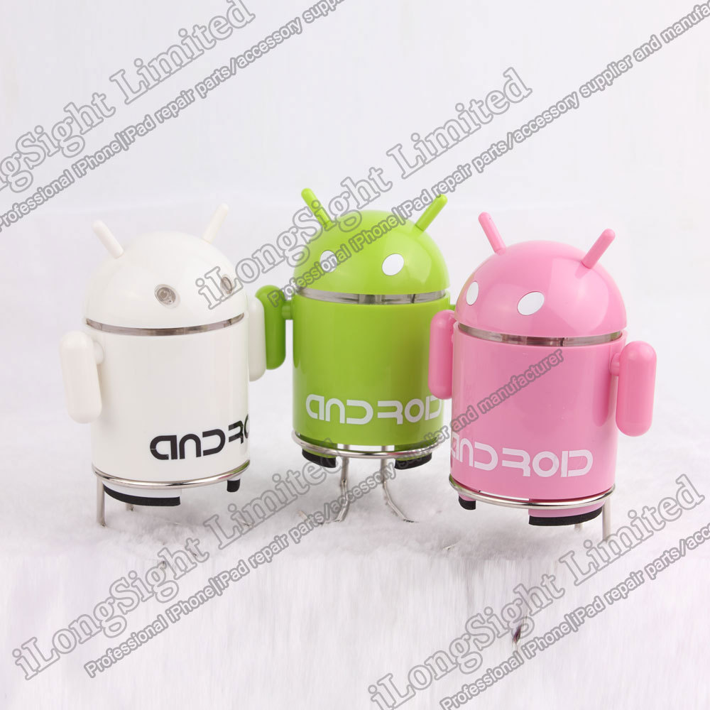 DHL Free Shipping $42/pcs Android Robot Portable Mini Speaker Support TF Card/FM Radio(China (Mainland))