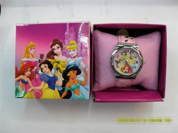 Free shipping Child birthday gift cartoon electronic watch 7 princess with box retail ans whole sale