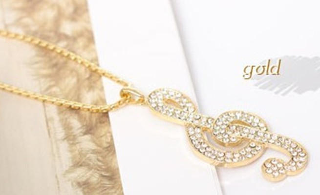 Music symbol full rhinestone long necklace chain Fashion jewelry 2013 full drill pendant necklace Free Shipping Silver/Golden(China (Mainland))