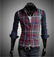 2014 New Arrival Fashion Casual Long Sleeve Men Plaid Shirt Popular Korean Style Free Shipping
