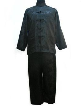 Черный Tradition Chinese Men's Шелк Атлас Jacket Брюки Kung Fu Suit S M L XL ...