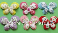 100PCS Padded Felt 2 layer / Printed Butterfly Appliques 6color-Upick