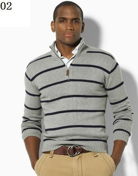 2013 new polo striped 100%  cotton sweater men sweater Free Shipping