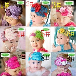 Free Shipping 10pcs/lot baby girl feather headband Baby fashion hair band colorful girl head accessories multi styles(China (Mainland))