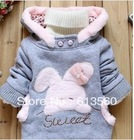 Children's clothing 2013 Autumn and winter new cartoon little bunny fleece girls and boys hedging outwear coats ok307(China (Mainland))