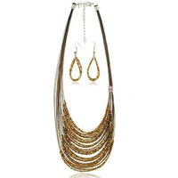 New Arrival 2013 Fashion Tassel Necklace Earrings Set Free Shipping Top Quality Bohemia Jewelry Sets S018